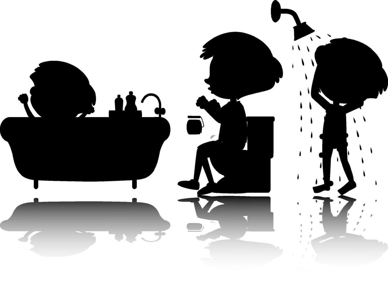Satz Kinderschattenbild mit Reflex auf weißem Hintergrund vektor