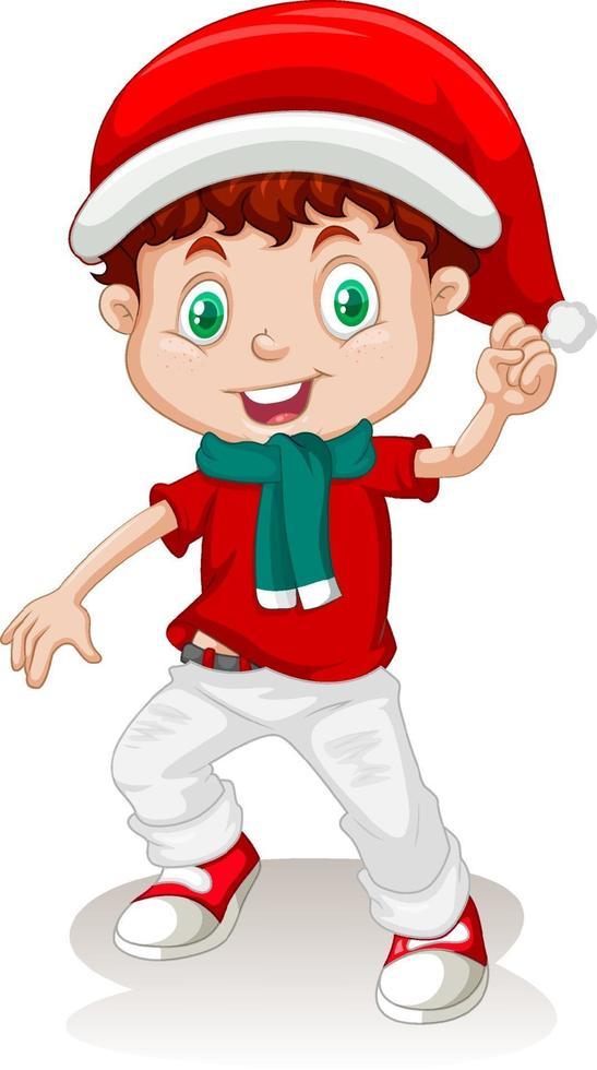 söt pojke i juldräkt seriefigur vektor