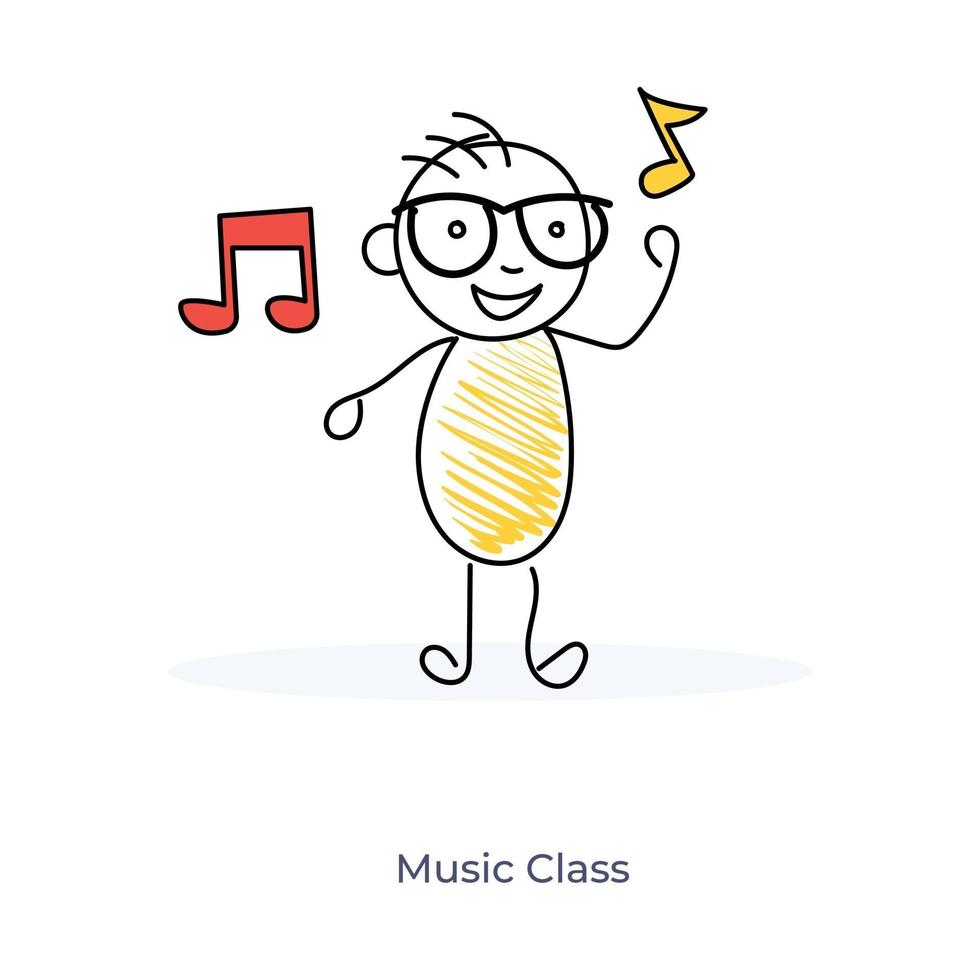 seriefigur i musikklass vektor