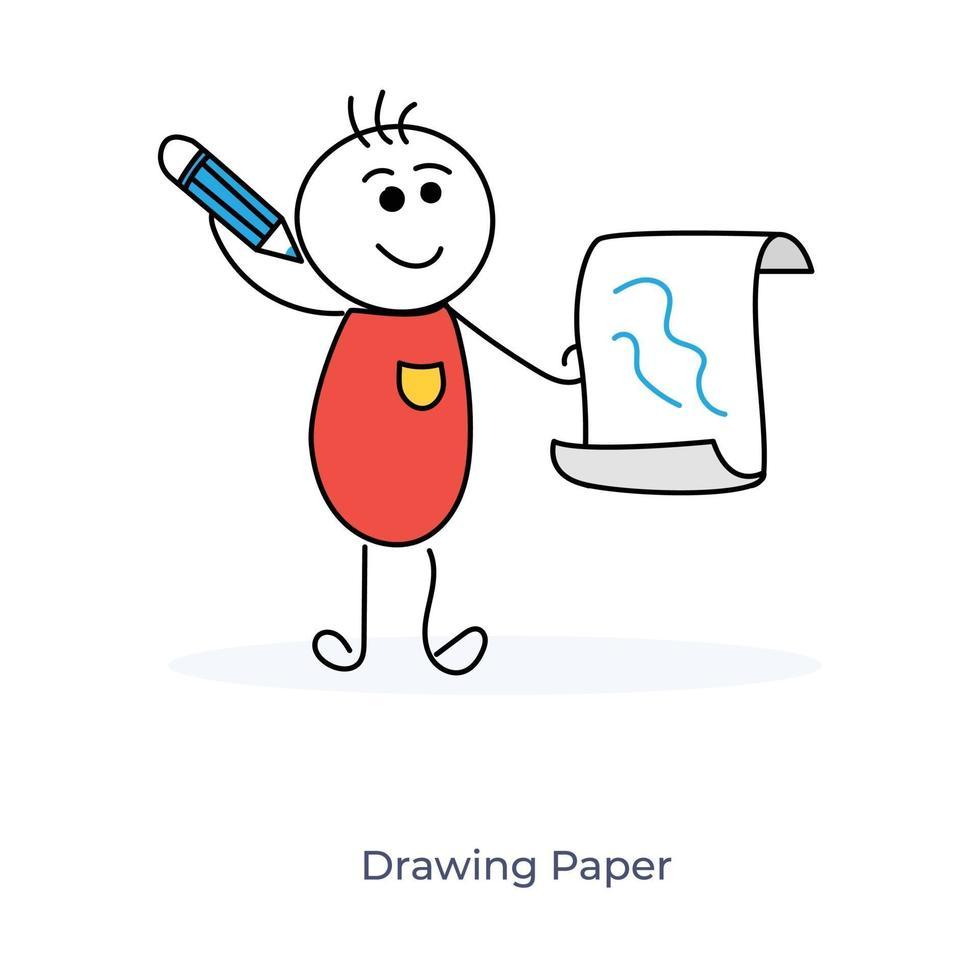 tecknad pojke med ritpapper vektor