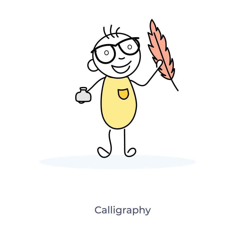 Zeichentrickfigur und Kalligraphie vektor