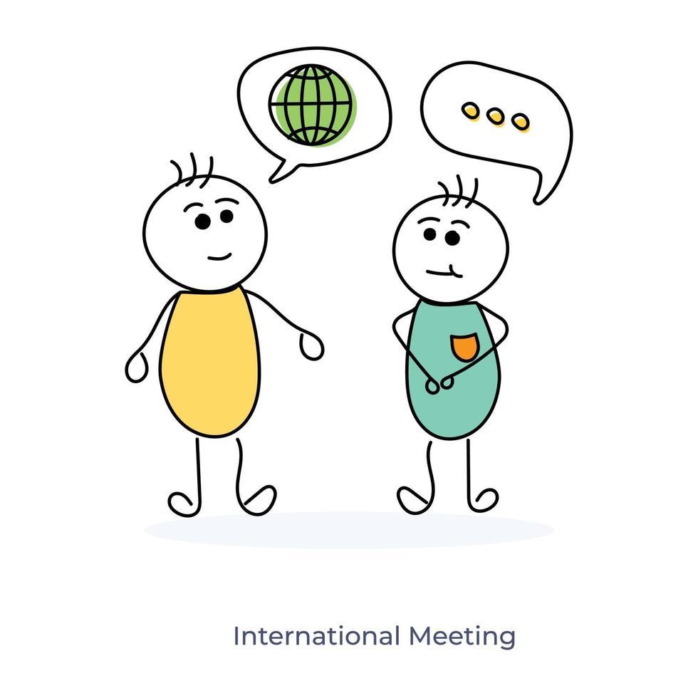 internationellt möte mellan två seriefigurer vektor