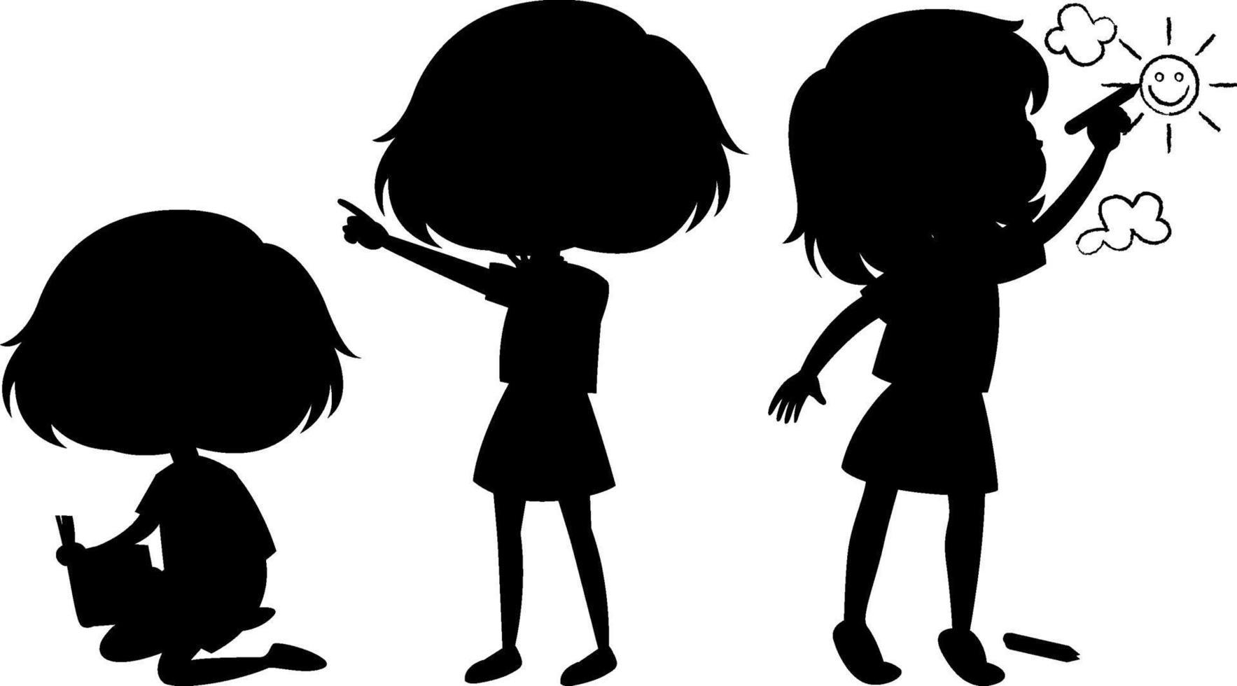 Zeichentrickfigur der Kinderschattenbild auf weißem Hintergrund vektor