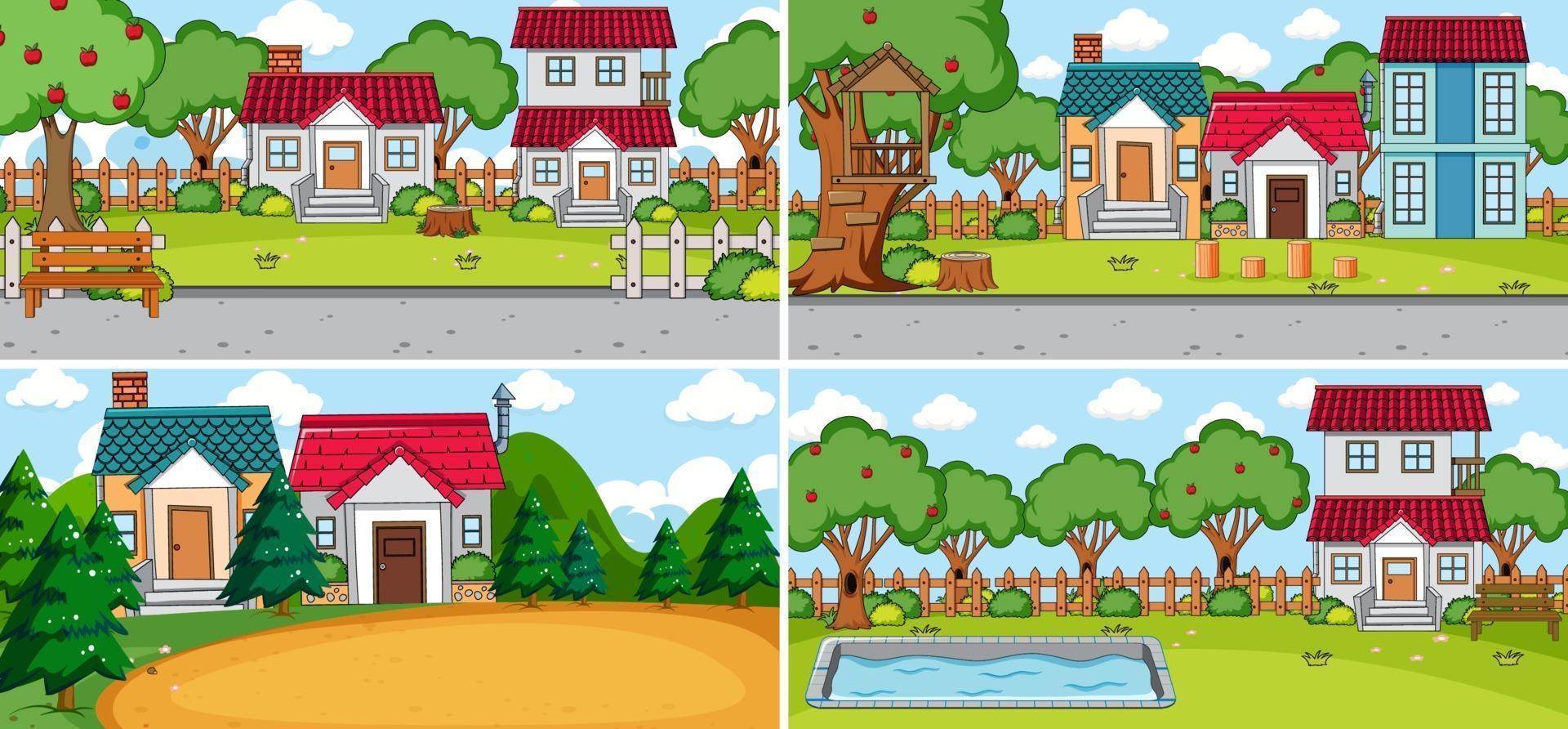 uppsättning av olika hus i natur scener tecknad stil vektor