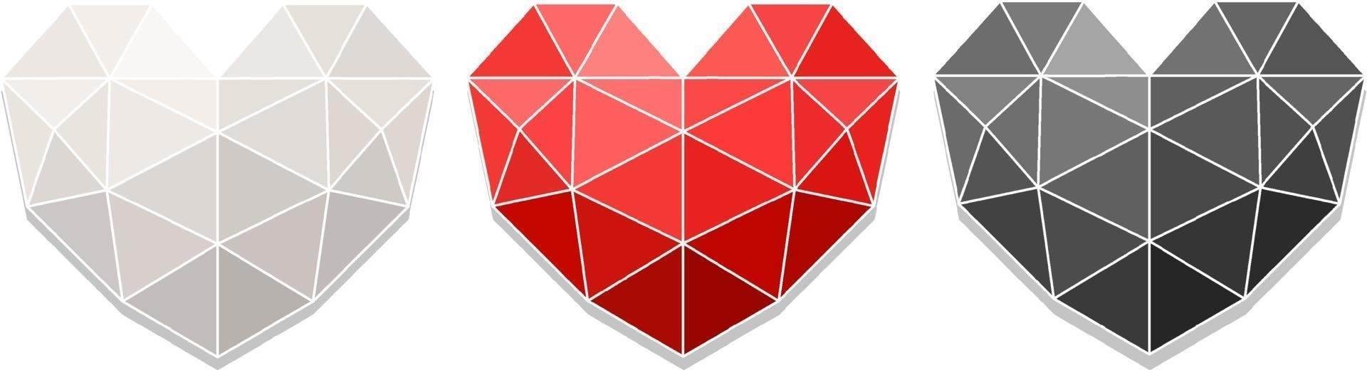 uppsättning av olika färger av geometriska hjärta vektor