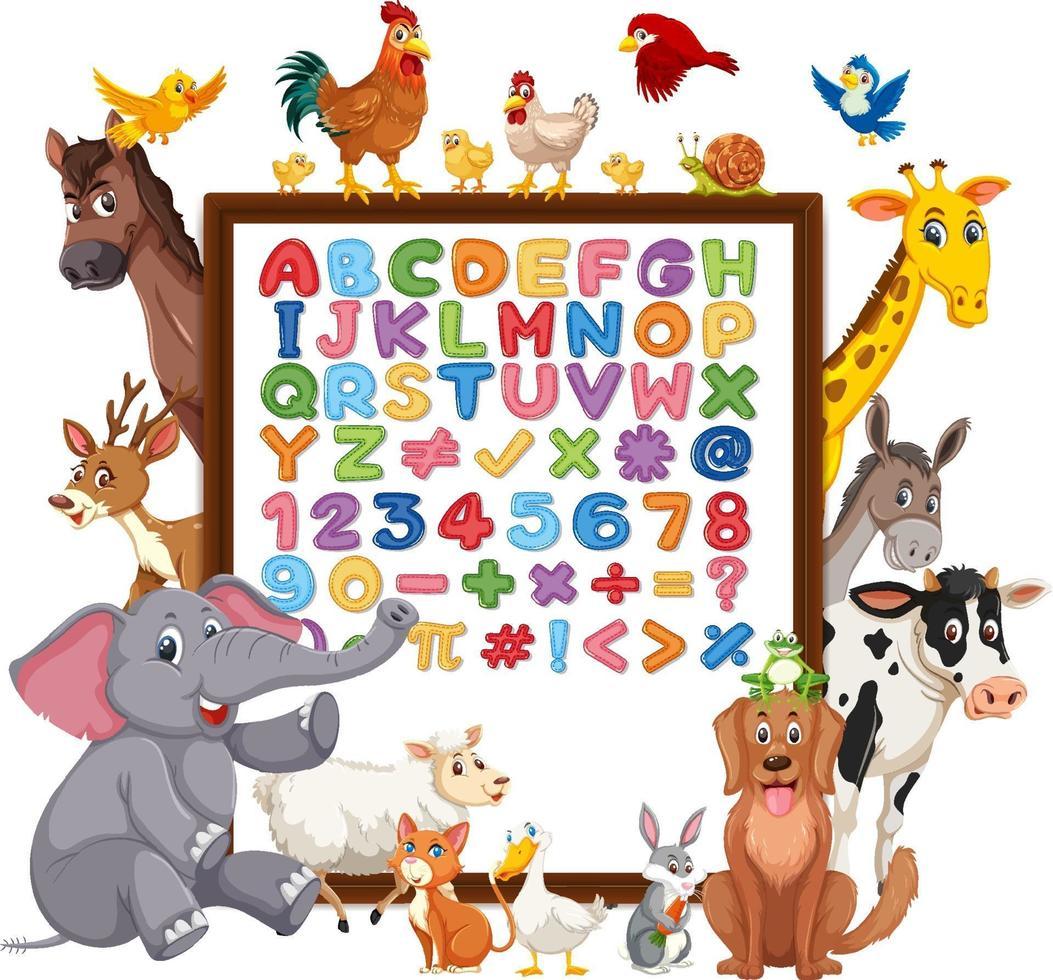 alfabetet az och matematiska symboler på en tavla med vilda djur vektor