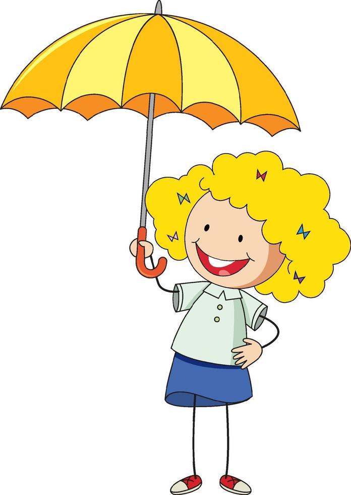 flicka håller paraply seriefigur vektor