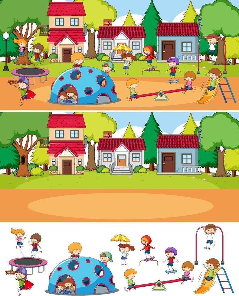 park scen med många barn doodle seriefigurer isolerade vektor
