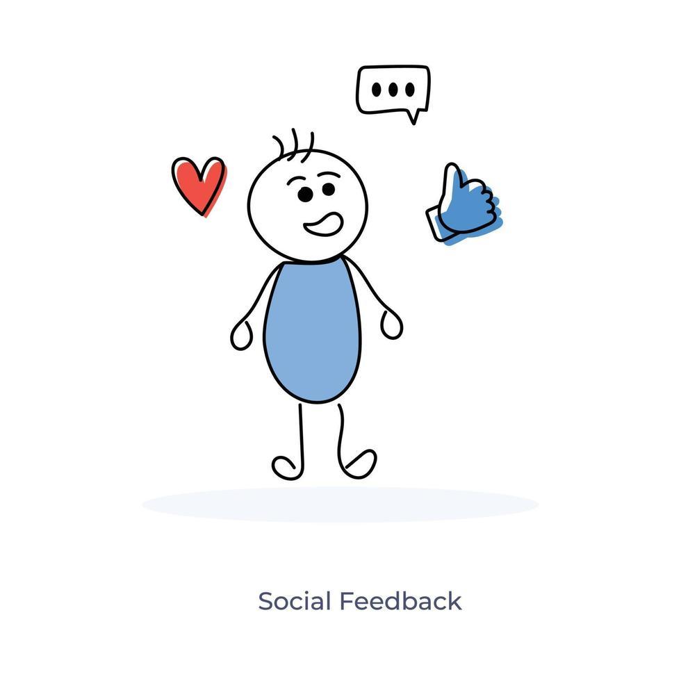 seriefigur och sociala medier feedback vektor
