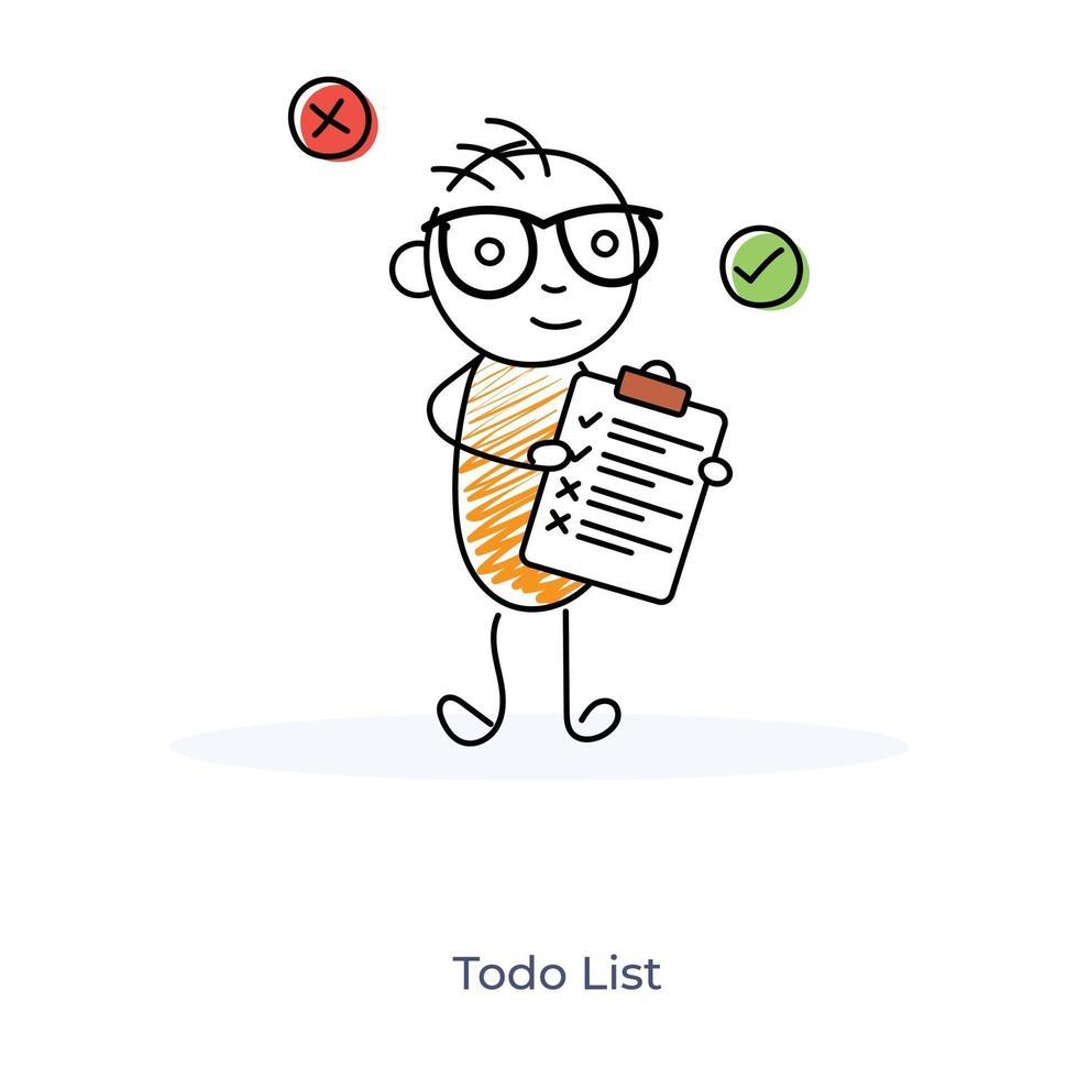 seriefigur visar att göra-lista vektor