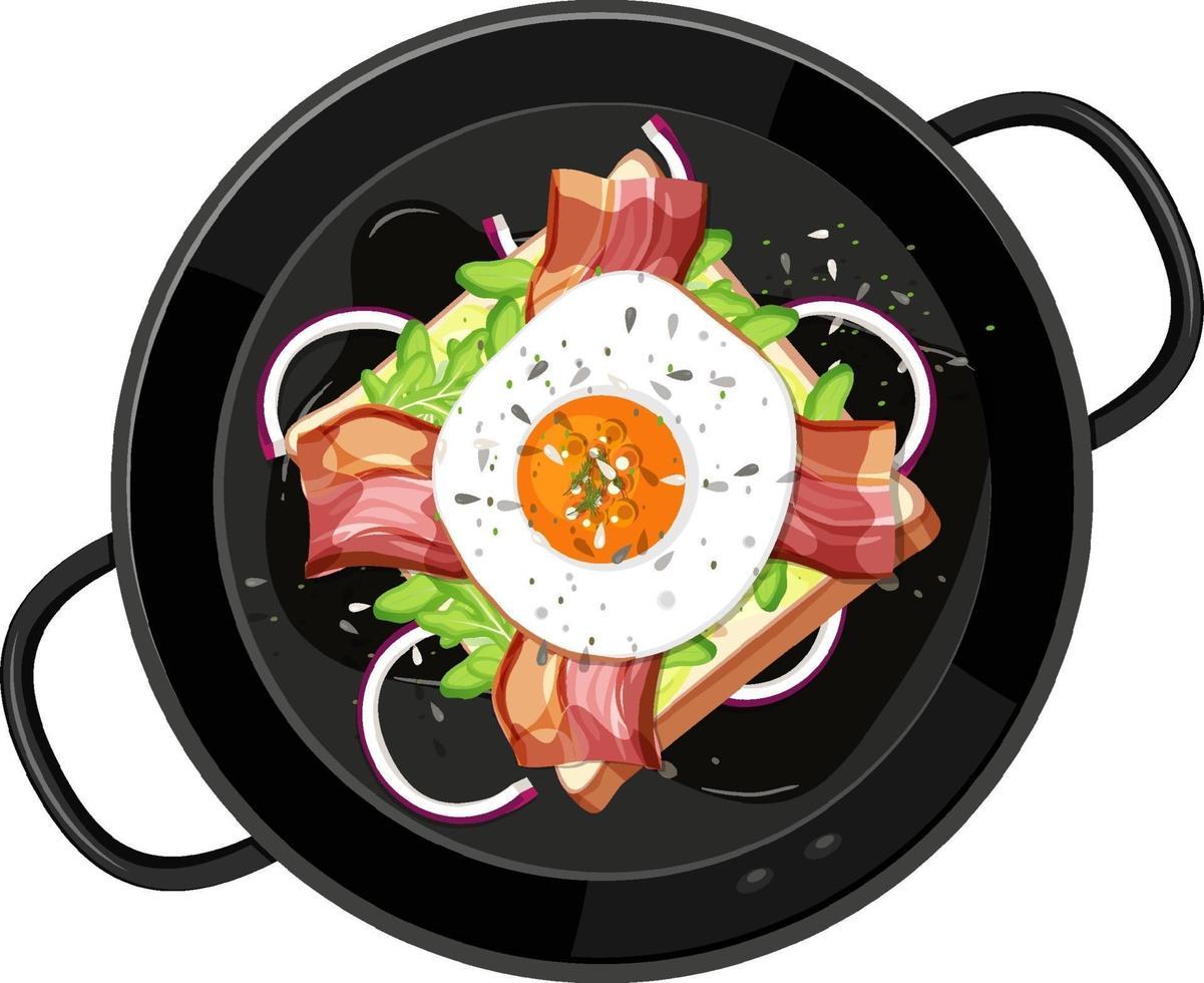 ovanifrån av frukost i pannan isolerad vektor
