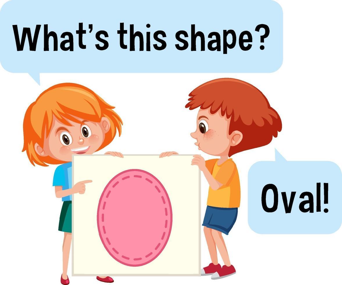 barn som håller oval formbanner med vad som är det här formteckensnittet vektor