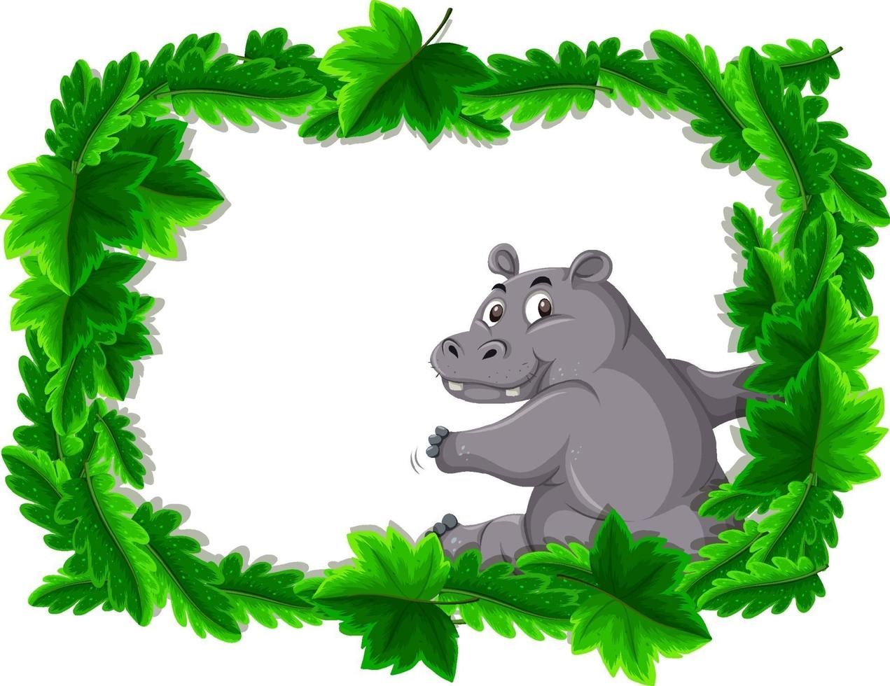 leeres Banner mit tropischem Blattrahmen und Nilpferd-Zeichentrickfigur vektor