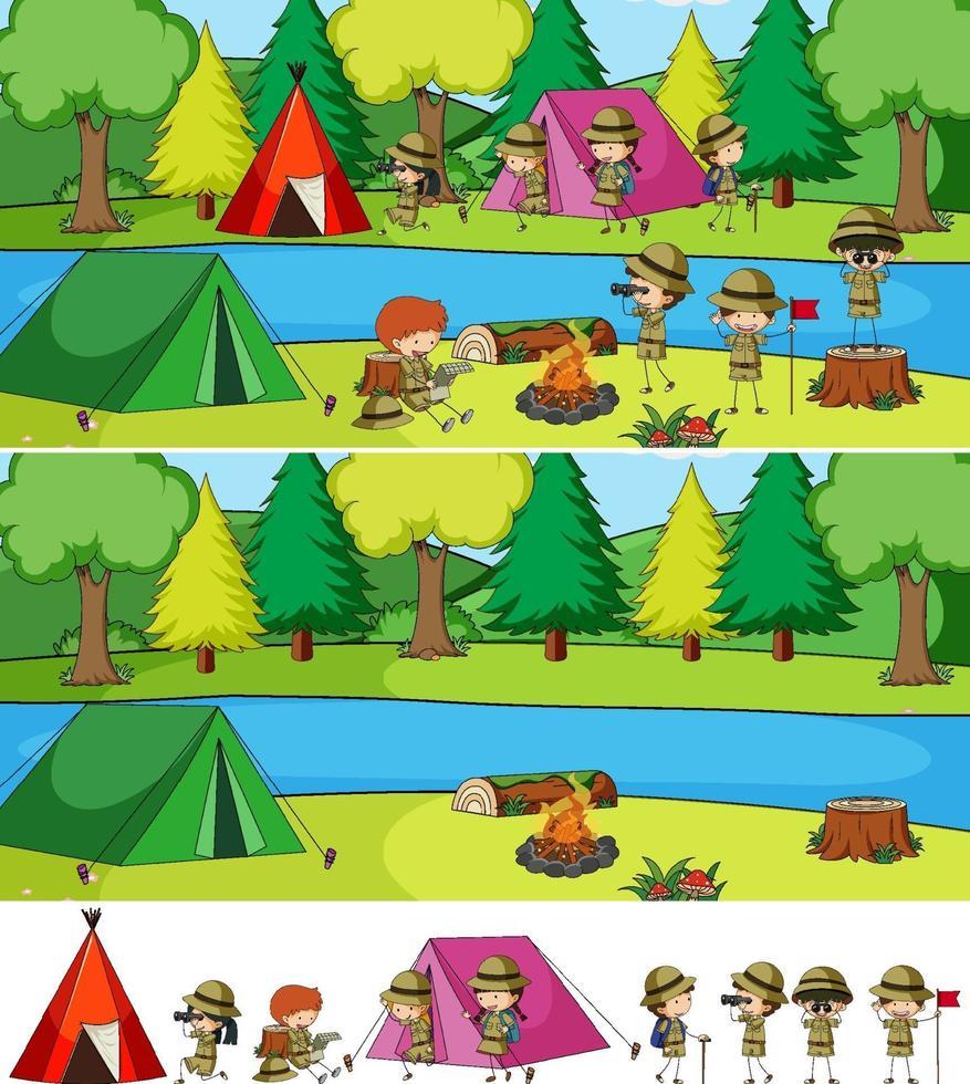 Camping-Szene eingestellt mit vielen Kinder-Zeichentrickfigur isoliert vektor