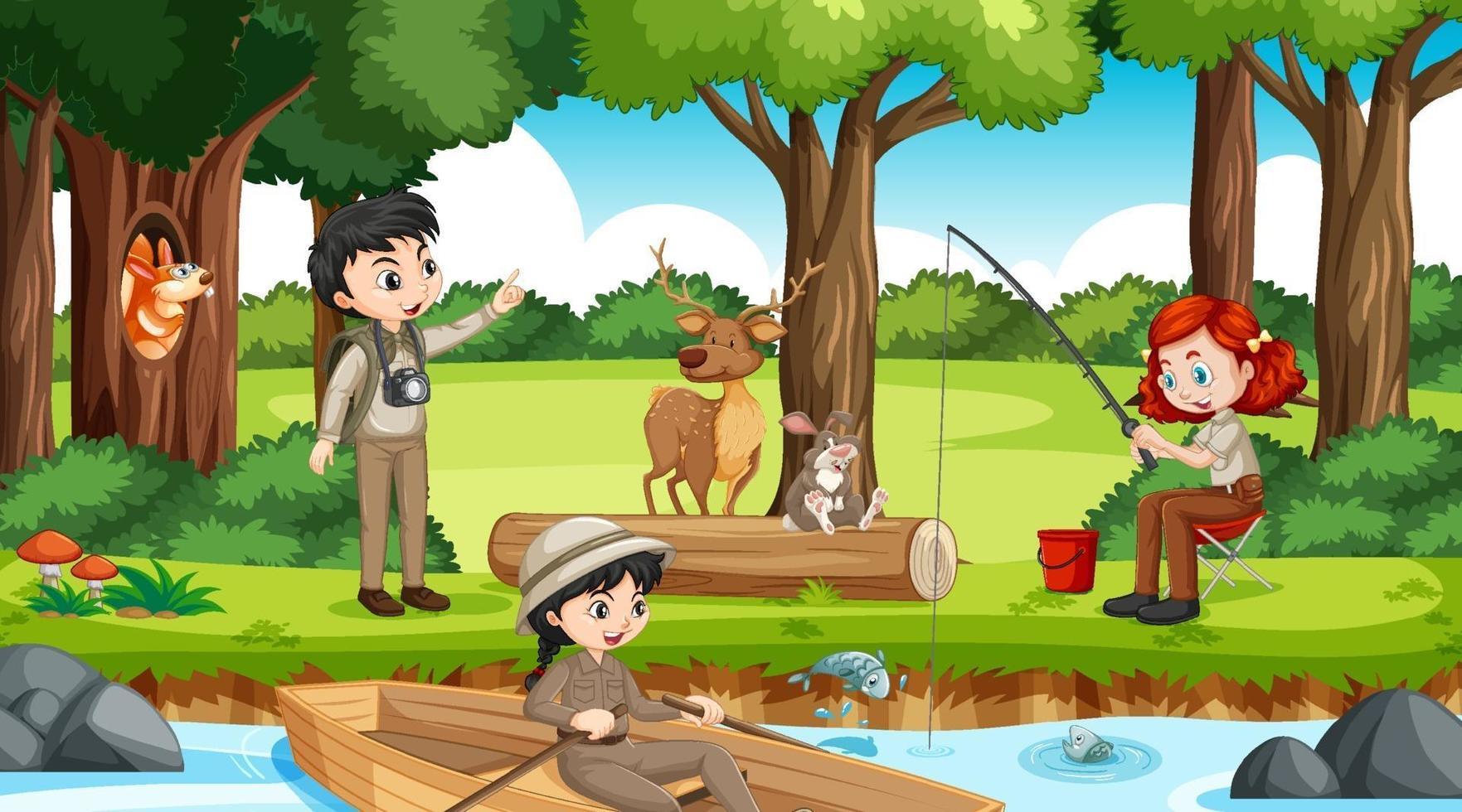 Camping in der Waldszene mit vielen Kindern, die verschiedene Aktivitäten ausführen vektor