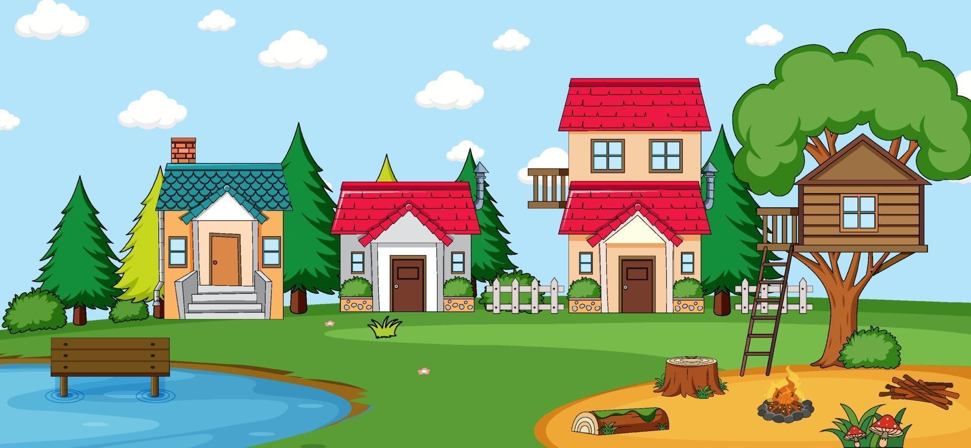 Outdoor-Szene mit vielen Häusern in der Naturszene vektor