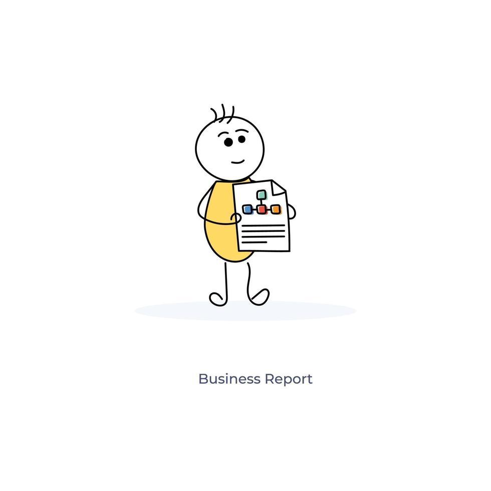 Zeichentrickfigur mit Geschäftsbericht vektor