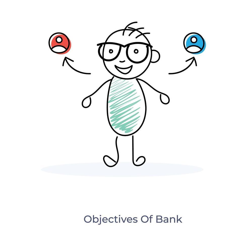 Ziel der Bank- und Zeichentrickfigur vektor