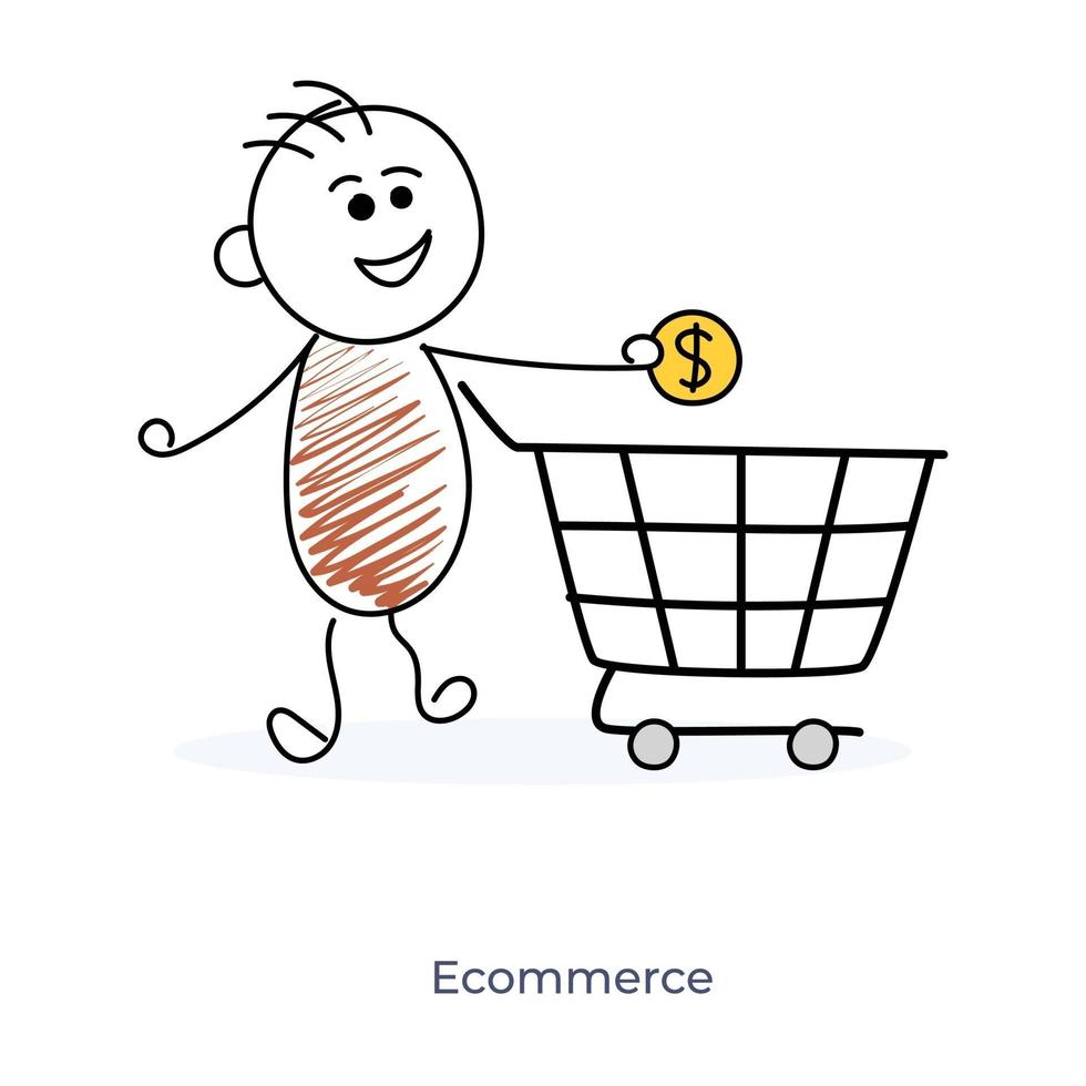 seriefigur och e-handel vektor