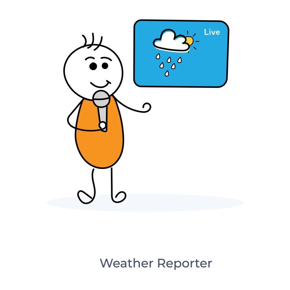 tecknad meteorologprognos vektor