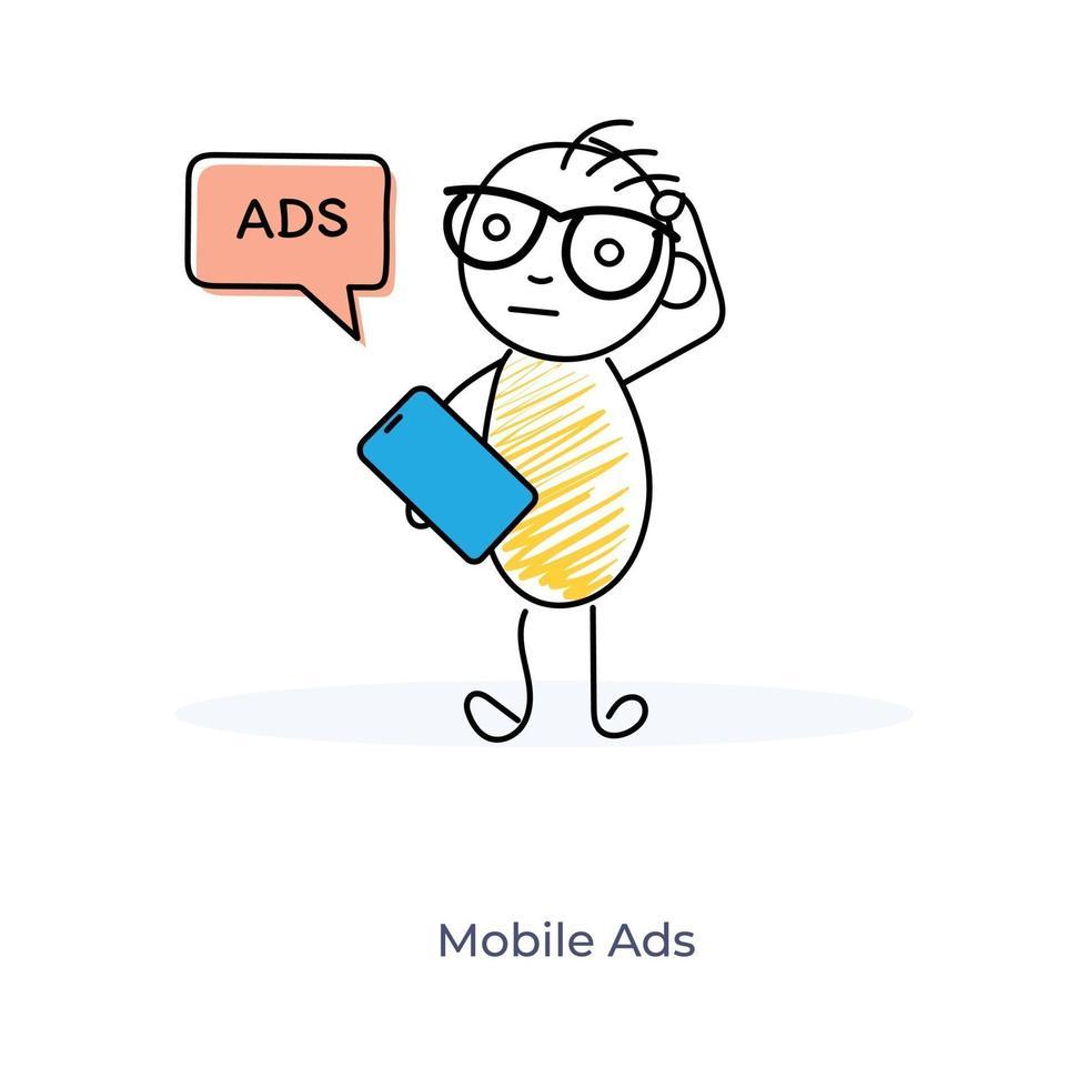 mobil marknadsföring seriefigur vektor
