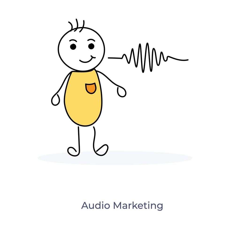 Zeichentrickfigur und Audio-Marketing vektor