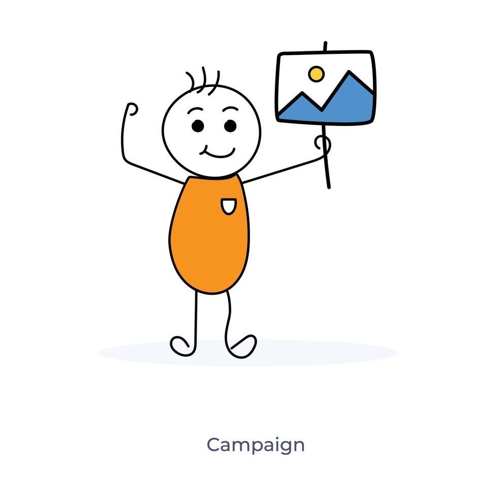kampanj av tecknad karaktär vektor
