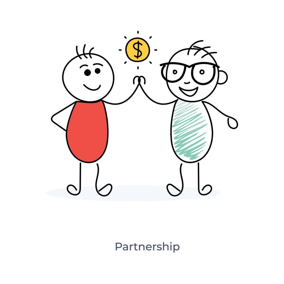 Geschäftspartnerschaft mit zwei Zeichentrickfiguren vektor