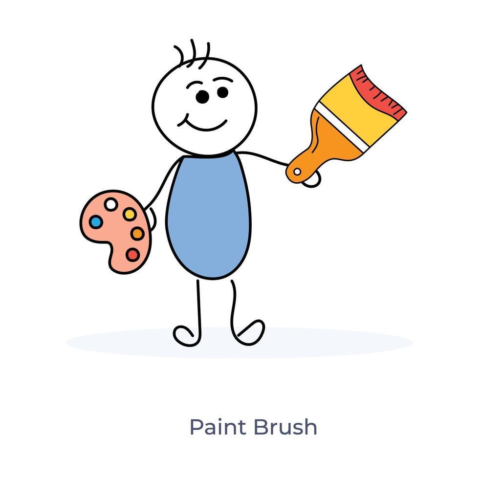 tecknad målare håller pensel och målning palett vektor