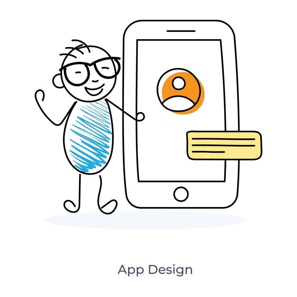 appdesign av en tecknad karaktär vektor