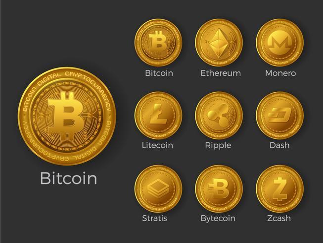 Gyllene cryptocurrency mynt ikoner uppsättning vektor
