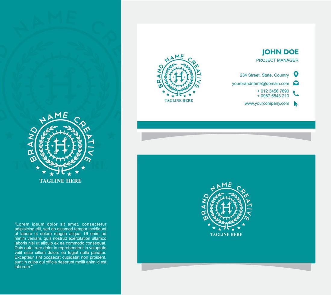 visitkort med logotypen h vektor, eps 10 vektor