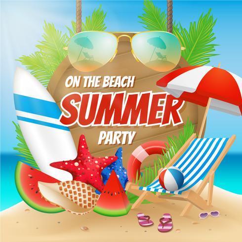 Sommarfest på stranden affischdesign med dekoration vektor