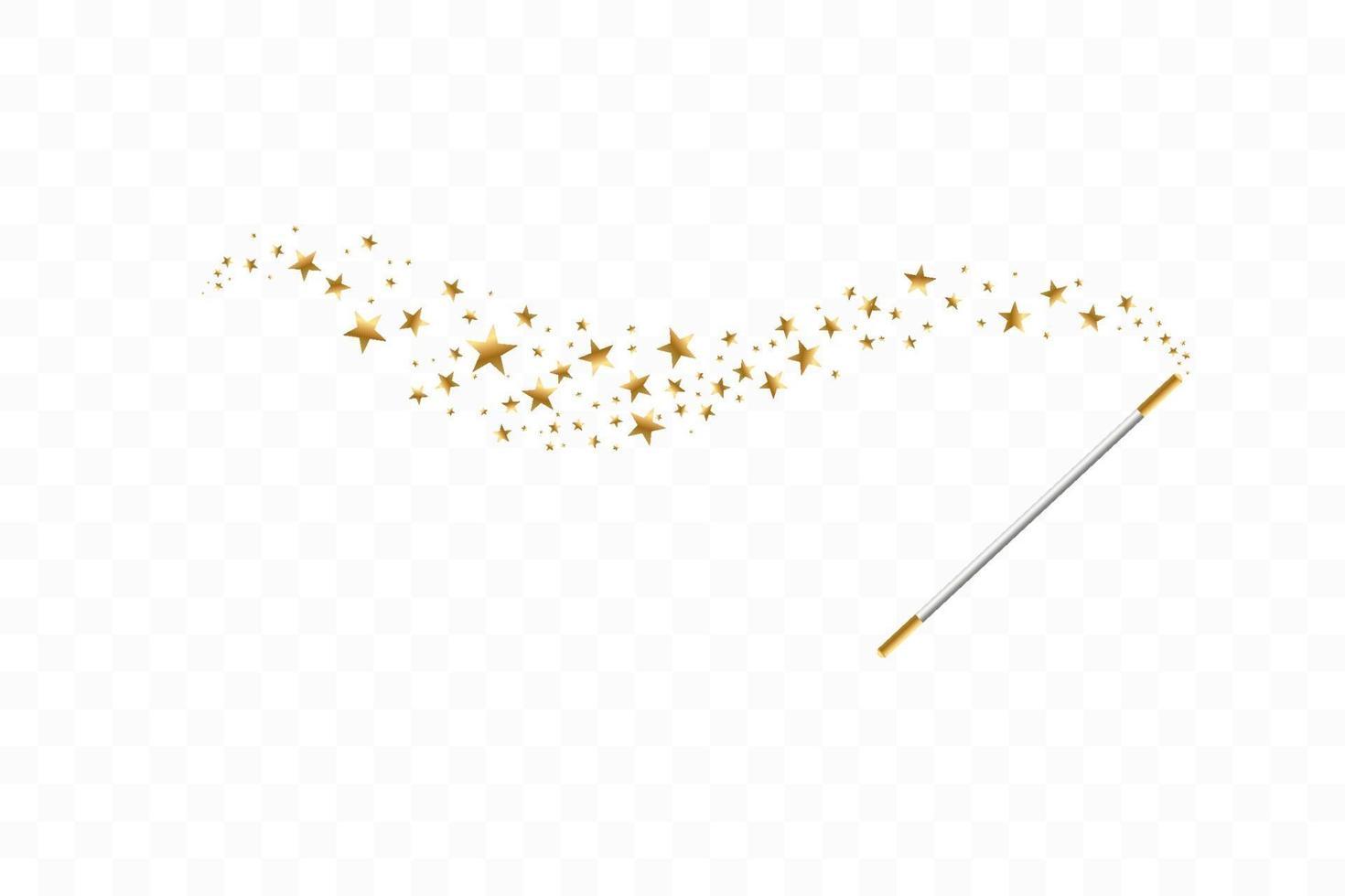 trollstav med stjärnor. spår av gulddamm. magisk abstrakt bakgrund isolerad. mirakel och magi. vektor