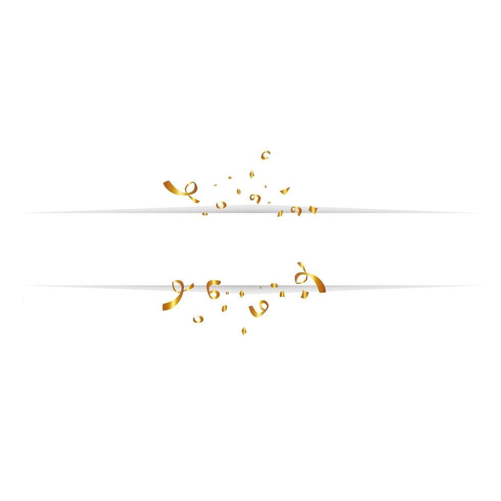 Tom banner med gyllene konfetti isolerad på vit bakgrund. vektor festlig bakgrund. Grattis på födelsedagen koncept
