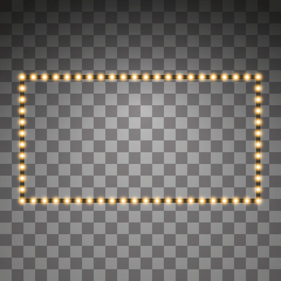 lysande gyllene ledda vektor rektangelramar, neonbelysning. glödande dekorativa rektangelband av diodekologiska lampor ljuseffekt för banners, webbplatser