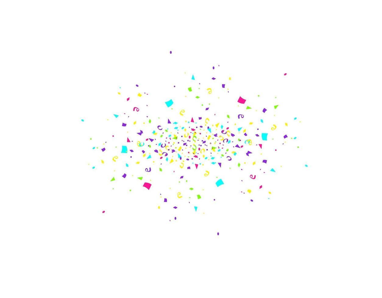 färgglada konfetti burst isolerad på vit bakgrund. festlig mall. vektorillustration av fallande partiklar för semesterdesign vektor