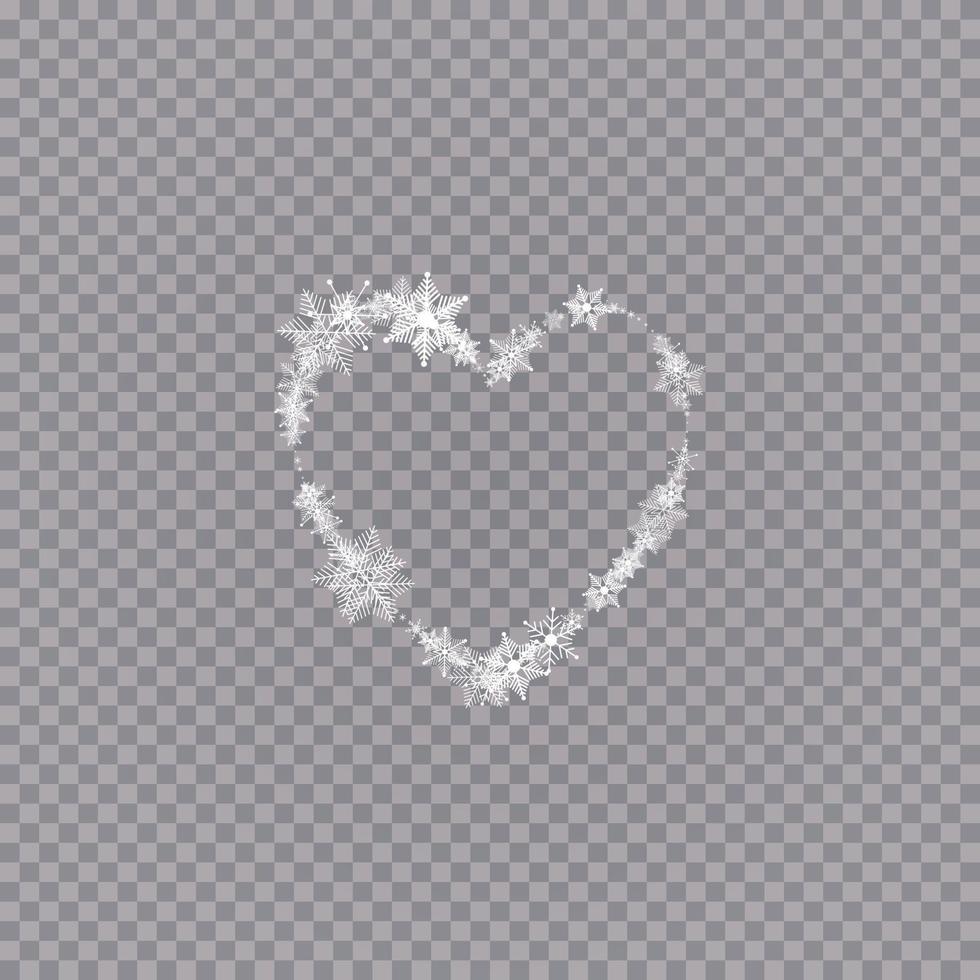 hjärtformade snöflingor i platt stil i kontinuerliga draglinjer. spår av vitt damm. magisk abstrakt bakgrund isolerad. mirakel och magi. vektor