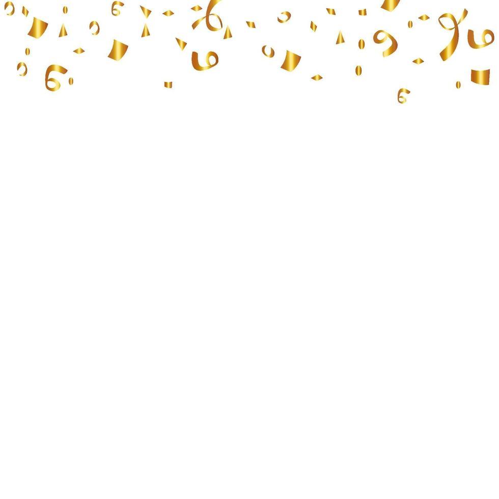 konfetti isolerad på vit bakgrund. gyllene band. festlig vektorillustration vektor