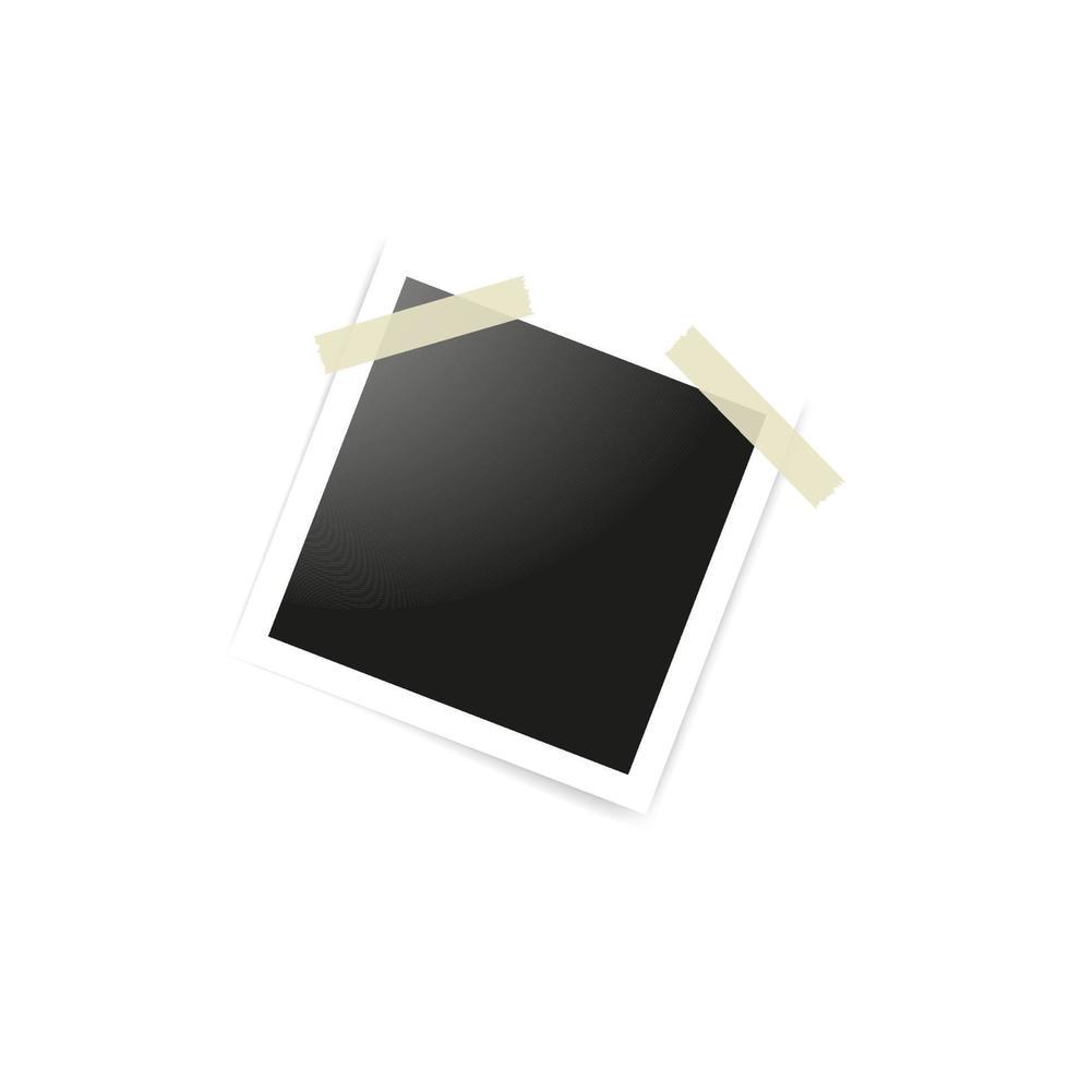 tomma fotoramar klistrade på tejp till vit bakgrund. mallmodell för design. vektor illustration
