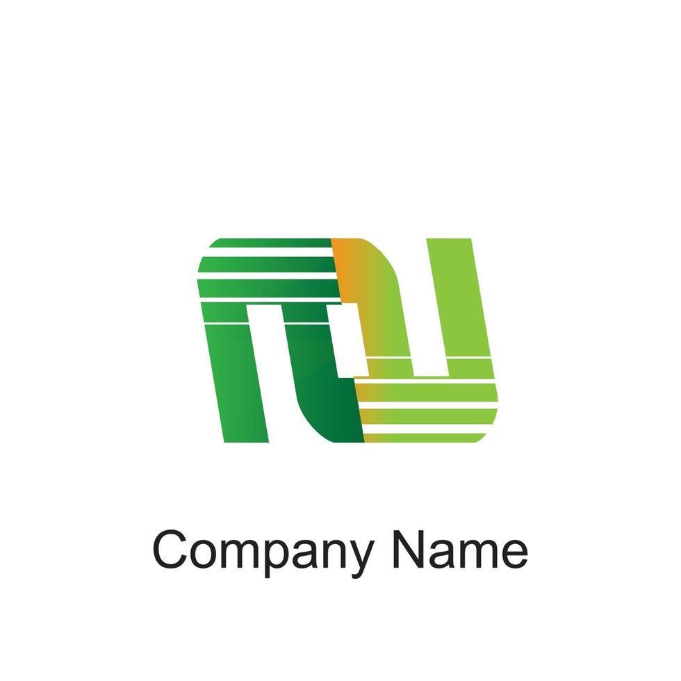 nu logotyp med färgglada cirkel, med randig komposition brev, uppsättningar av visitkort för företagsidentitet, kreativ industri, webb. - vektor