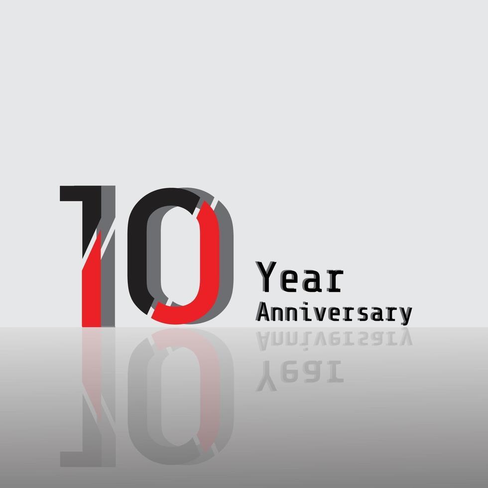 Illustration för design för mall för 10 års årsdag röd färgvektor vektor