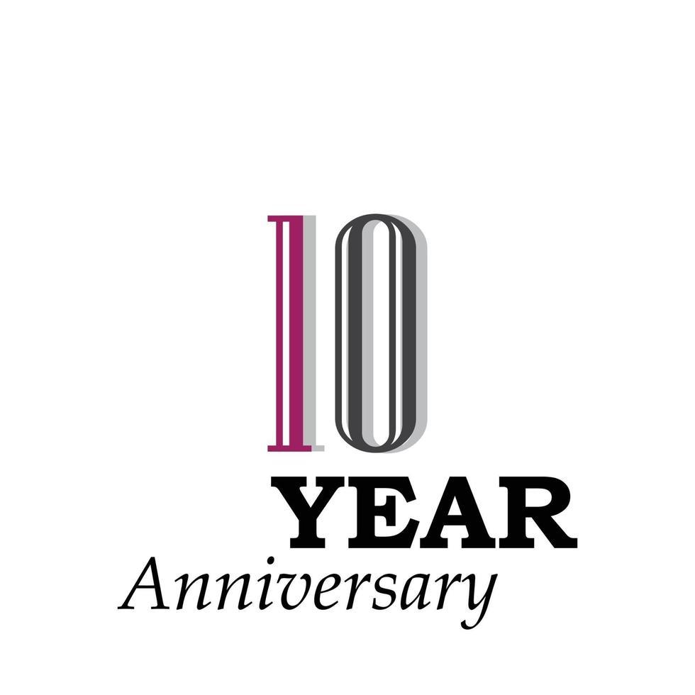 Illustration för design för mall för 10 års jubileumsfärgvektor vektor