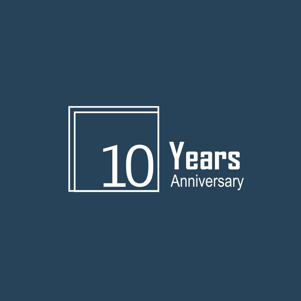 10 Jahre Jubiläumsfeier blaue Farbvektorschablonen-Designillustration vektor
