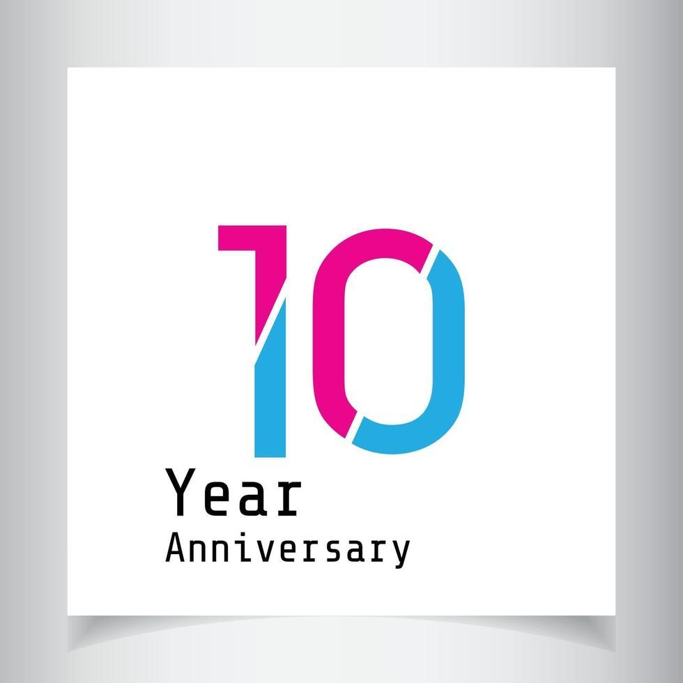 Illustration för design för mall för färg för vektor för 10 års jubileumsfirande blå och rosa