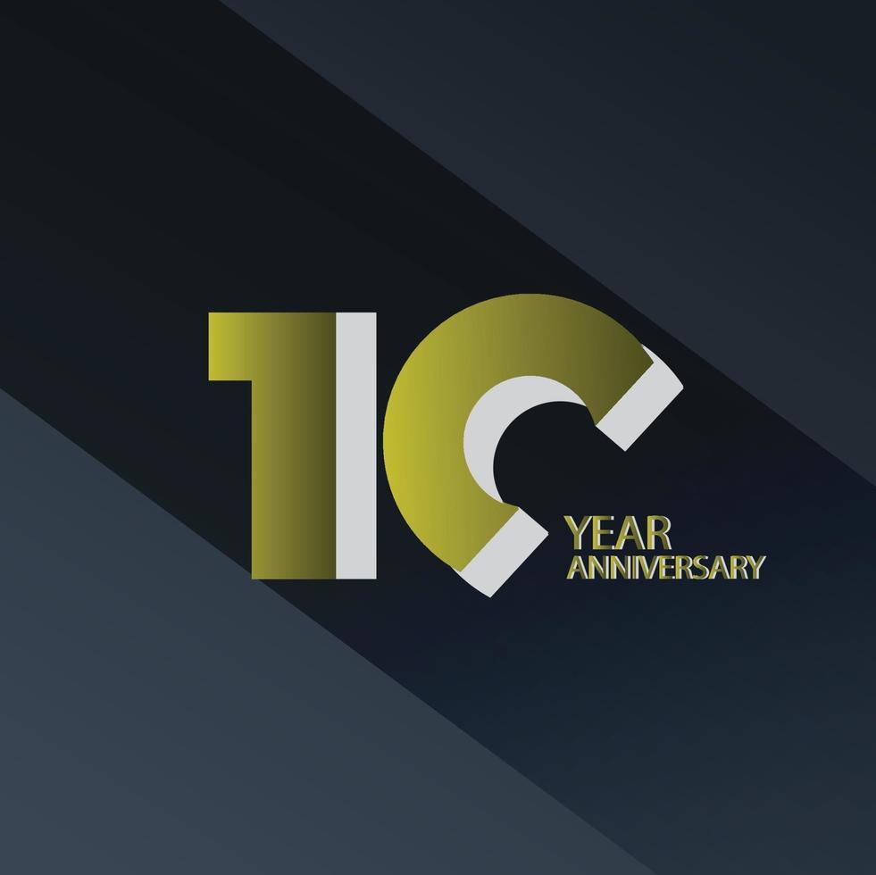 Illustration för design för mall för färg för vektor för 10 års jubileumsfirande guld- och svart