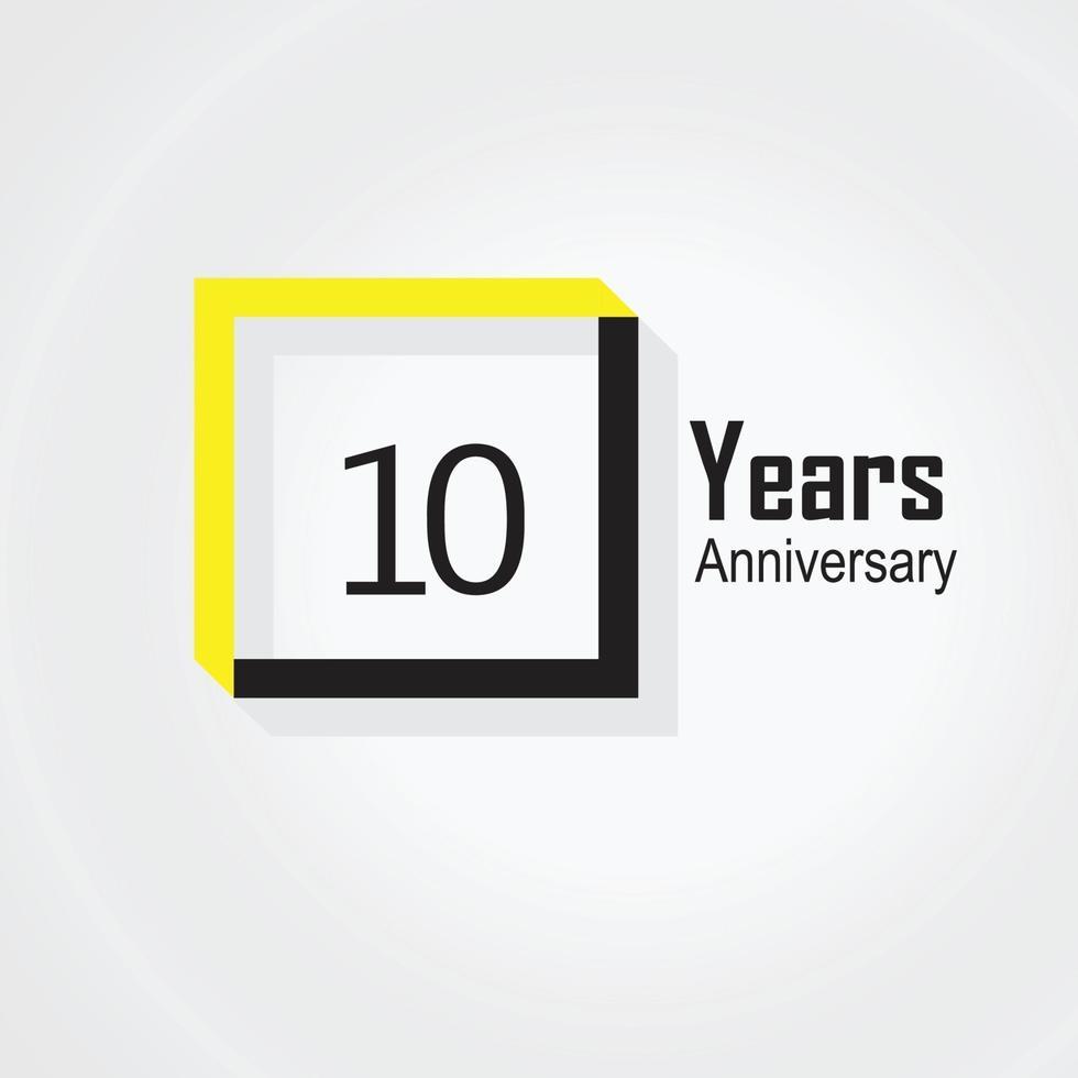 Illustration för design för 10 års årsdagvektormall vektor
