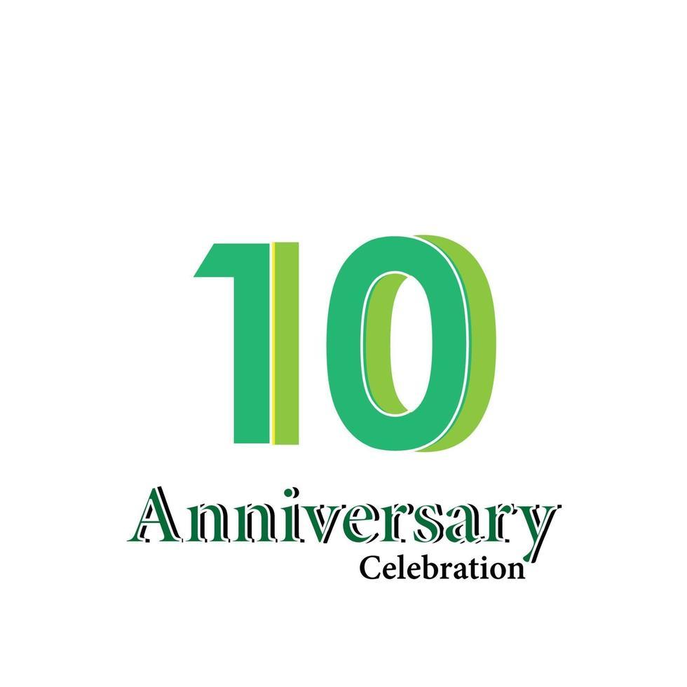 Illustration för design för mall för vektor för 10 års jubileum firande grön