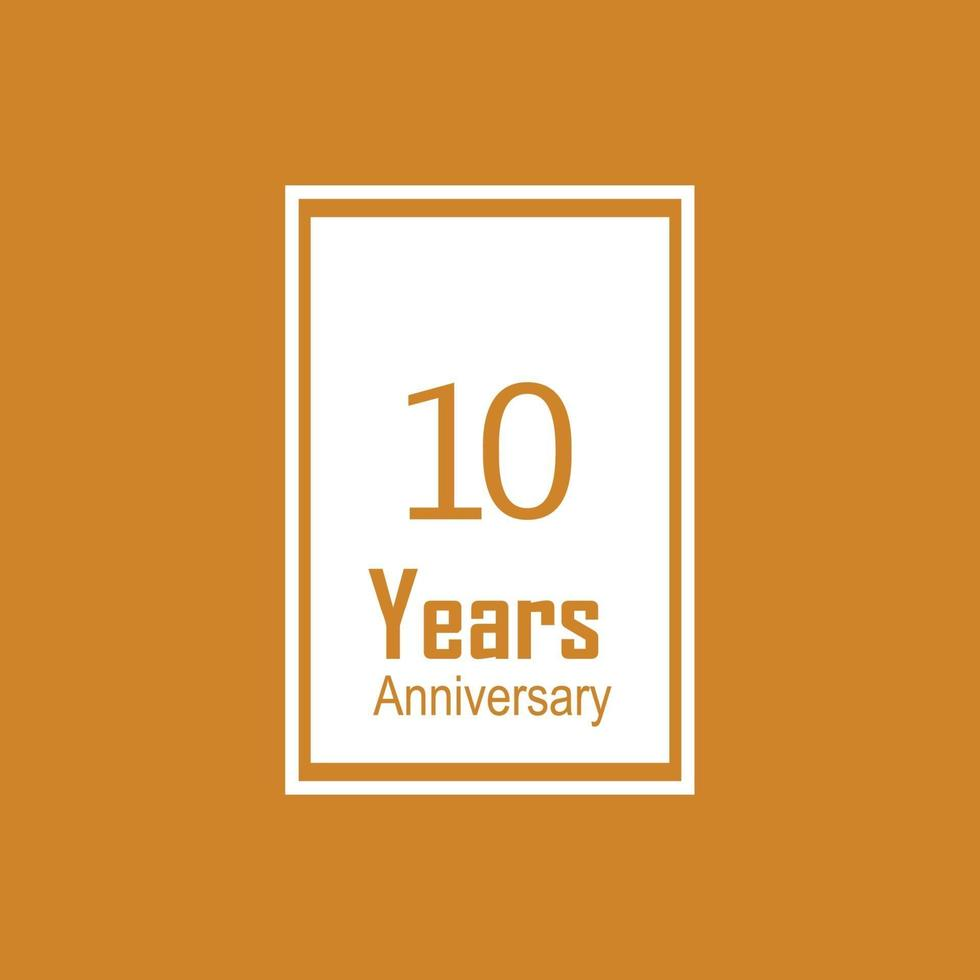 Illustration för design för mall för vektor för 10 år för årsdagfirande orange
