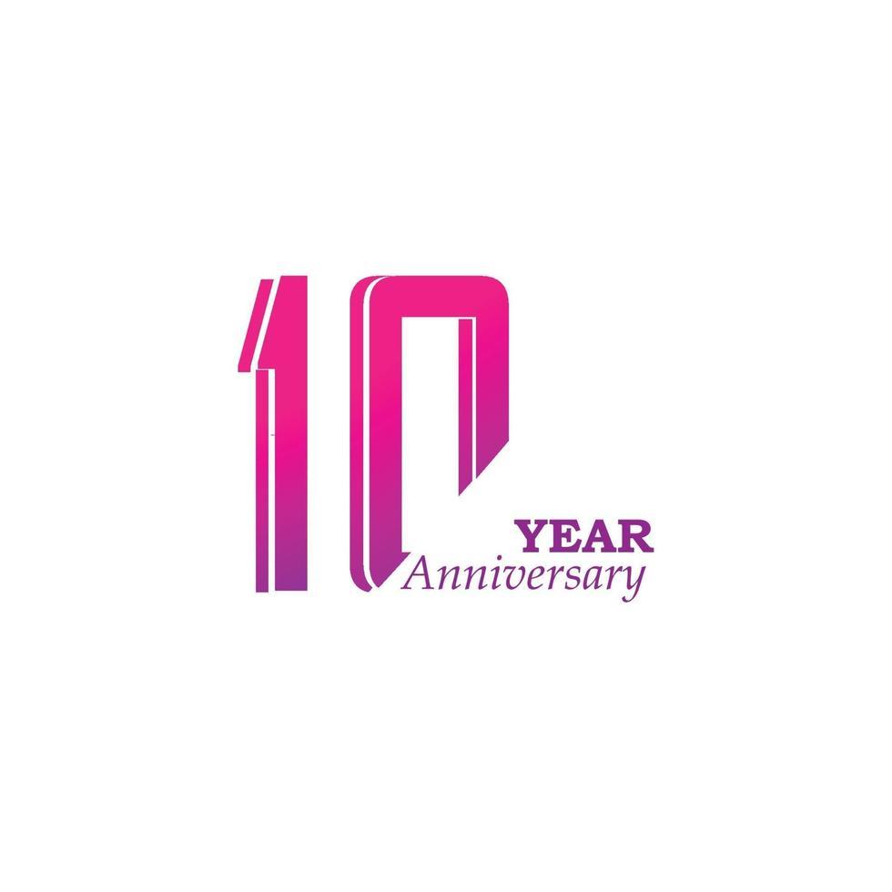 Illustration för design för mall för vektor för 10 år för årsdagfirande purpurfärgad